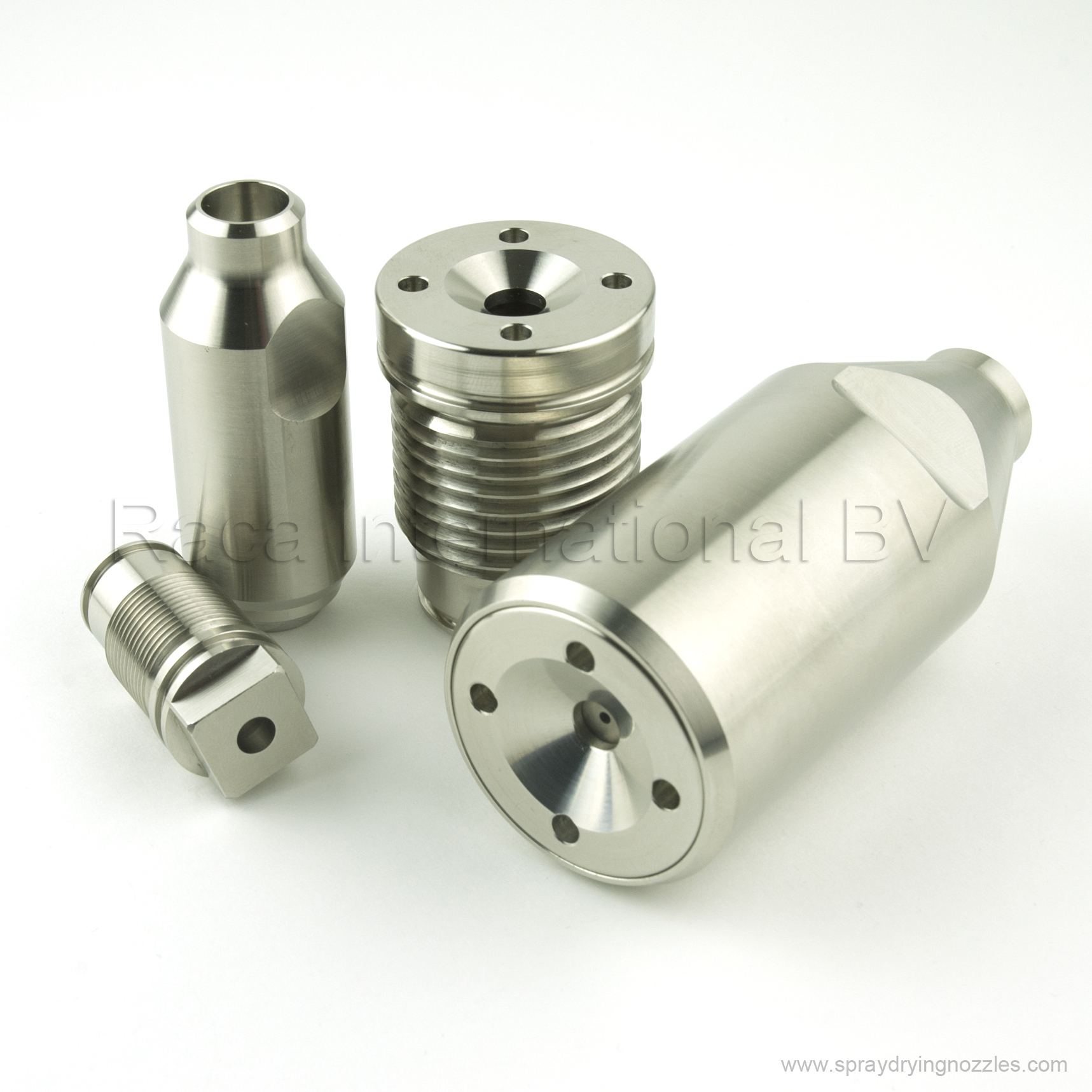 Spray drying nozzles bodies and adapters
